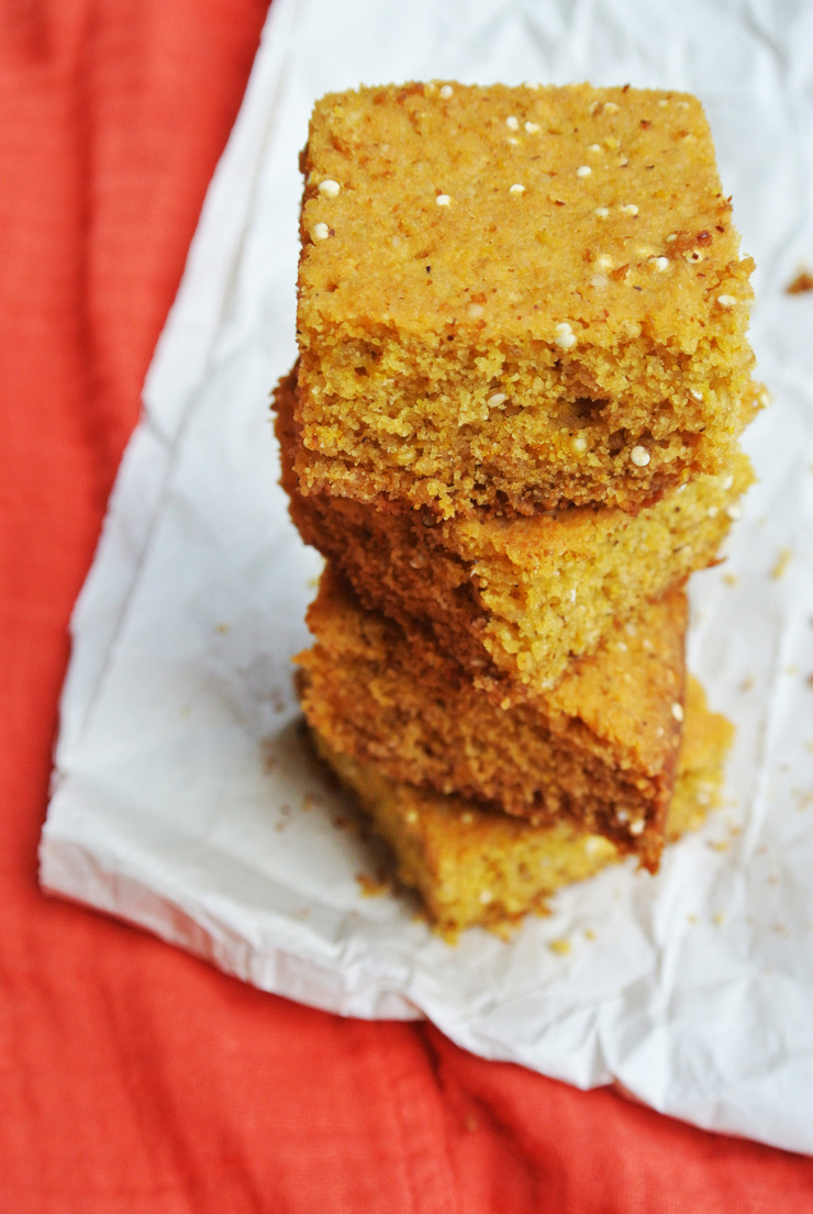 Vegan Quinoa-Quinoa Cornbread + how to make quinoa flour!
